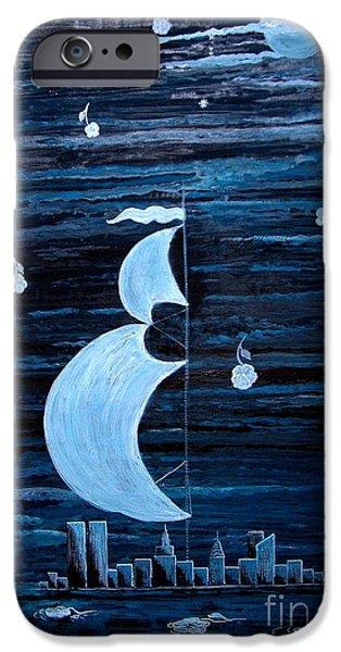 Polscy Malarze iPhone Cases - New York City Under Full Moon iPhone Case by Anna Folkartanna Maciejewska-Dyba