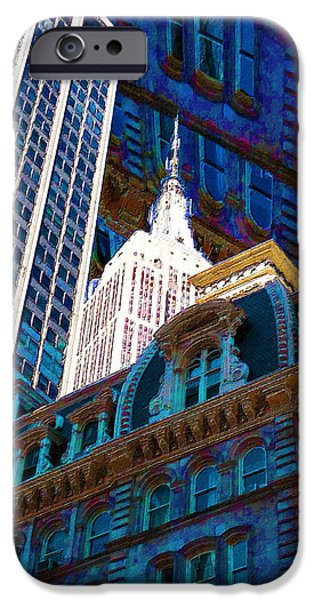 Modern Abstract iPhone Cases - New York City Up Is Down Down Is Up Blue iPhone Case by Tony Rubino