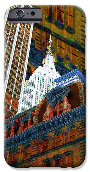 Modern Abstract iPhone Cases - New York City Up Is Down Down Is Up Orange iPhone Case by Tony Rubino