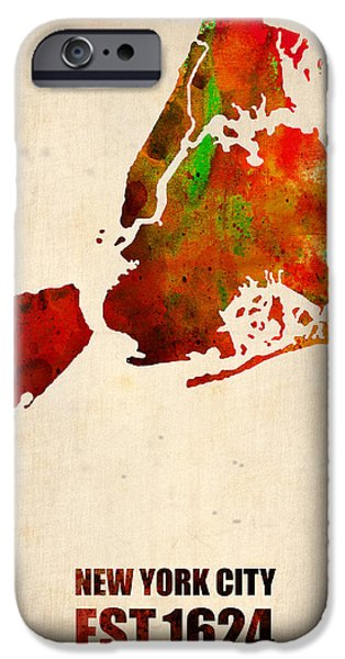 New York City iPhone Cases - New York City Watercolor Map 2 iPhone Case by Naxart Studio