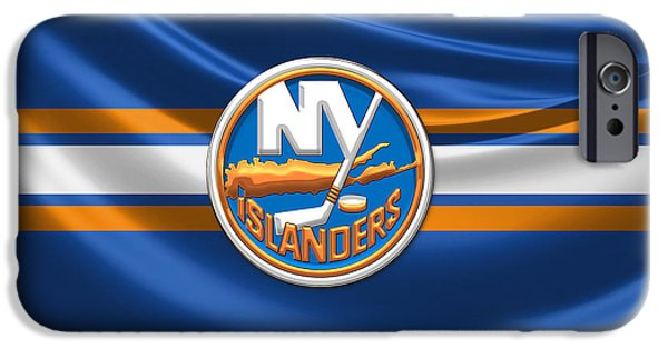 Hockey Art iPhone Cases - New York Islanders - 3D Badge over Silk Flag iPhone Case by Serge Averbukh