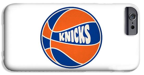 Knicks iPhone Cases - New York Knicks Retro Shirt iPhone Case by Joe Hamilton