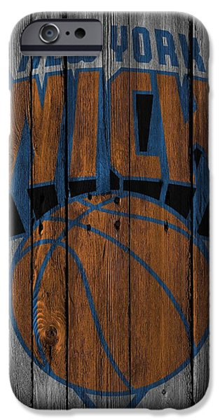 Knicks iPhone Cases - New York Knicks Wood Fence iPhone Case by Joe Hamilton