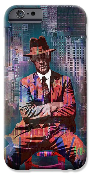 Blue Abstracts iPhone Cases - New York Man Seated City Background 2 iPhone Case by Tony Rubino