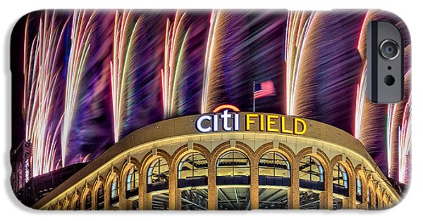 Recreation Building iPhone Cases - New York Mets Citi Field Fireworks iPhone Case by Susan Candelario