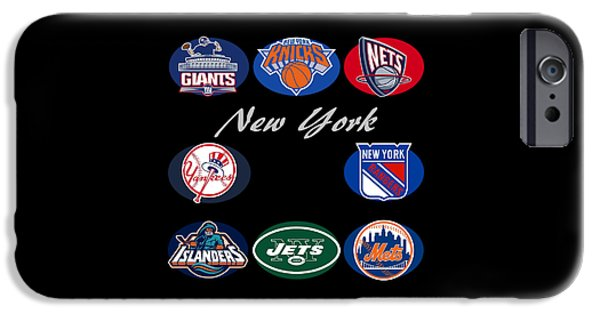 Knicks iPhone Cases - New York Professional Sport Teams Collage  iPhone Case by Movie Poster Prints