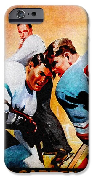 Hockey Paintings iPhone Cases - New York Rangers v Leafs Vintage Program iPhone Case by Big 88 Artworks