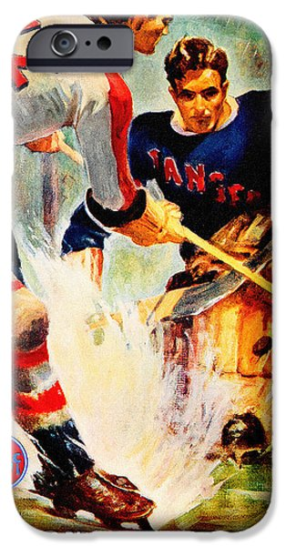 Hockey Paintings iPhone Cases - New York Rangers Vintage Three Poster iPhone Case by Big 88 Artworks
