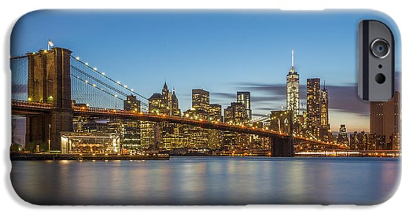 River View iPhone Cases - New York Skyline - Brooklyn Bridge - 2 iPhone Case by Christian Tuk