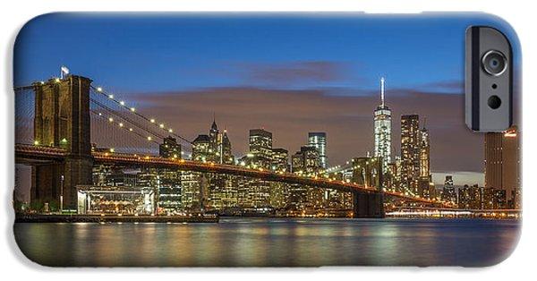 Hudson River iPhone Cases - New York Skyline - Brooklyn Bridge - 3 iPhone Case by Christian Tuk