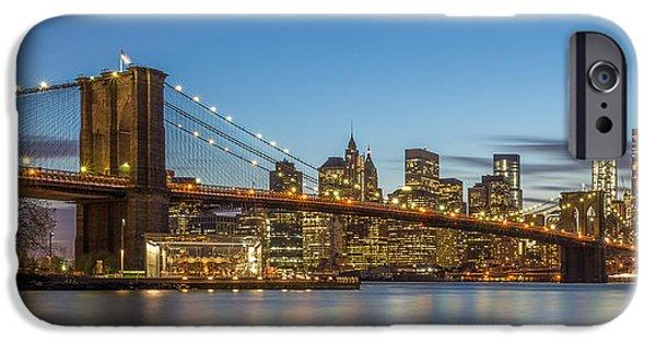 Hudson River iPhone Cases - New York Skyline - Brooklyn Bridge iPhone Case by Christian Tuk