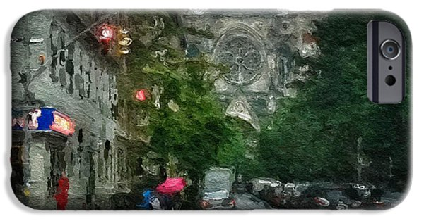 Rainy Day iPhone Cases - New York Upper West Side Scene iPhone Case by Amy Cicconi