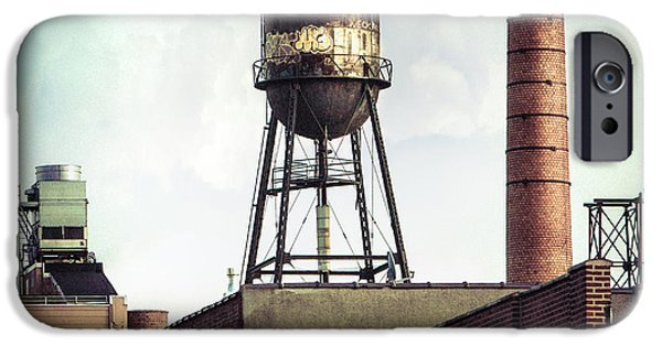 Dirty iPhone Cases - New York Water Towers 19 - Urban Industrial Art Photography iPhone Case by Gary Heller