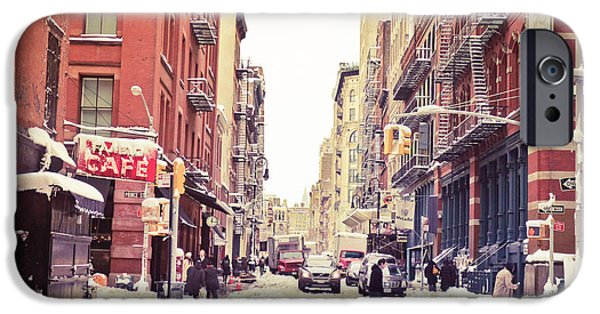 Escape iPhone Cases - New York Winter - Snowy Street in Soho iPhone Case by Vivienne Gucwa