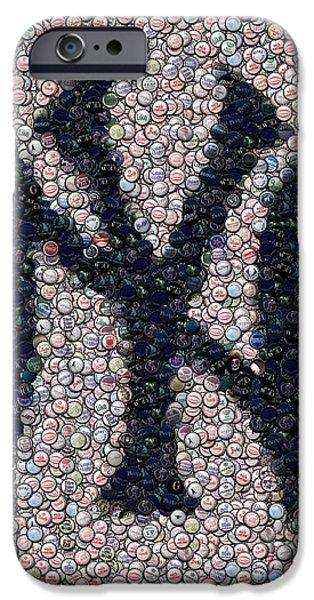Mosaic Mixed Media iPhone Cases - New York Yankees Bottle Cap Mosaic iPhone Case by Paul Van Scott