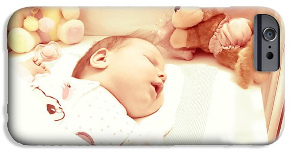 Little Girl Pyrography iPhone Cases - Newborn baby sleeping with toys iPhone Case by Vesna Cetojevic