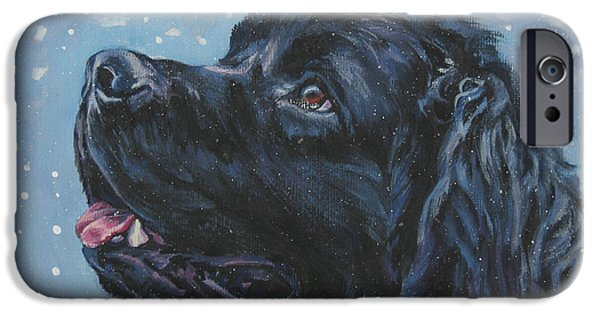 Newfoundland iPhone Cases - Newfoundland in Snow iPhone Case by Lee Ann Shepard