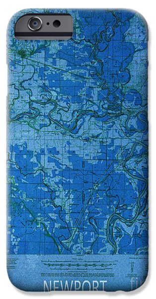 Arkansas Mixed Media iPhone Cases - Newport 1935 Map iPhone Case by Pablo Franchi