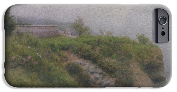 Mcentee Paintings iPhone Cases - Newport Cliff Walk in the Fog iPhone Case by Bill McEntee