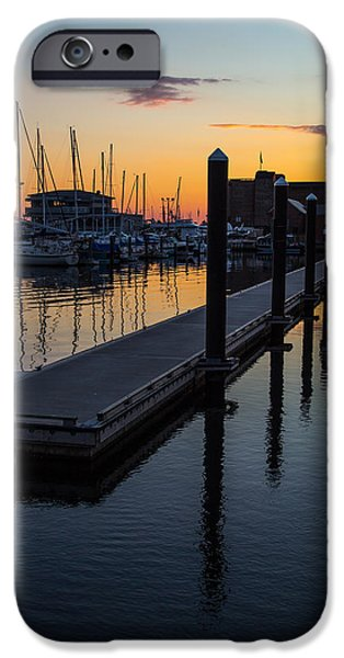 Boats At The Dock iPhone Cases - Newports Dusk  iPhone Case by Karol  Livote