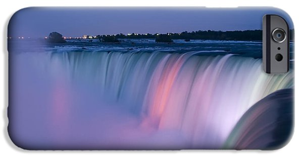 Flowing iPhone Cases - Niagara Falls at Dusk iPhone Case by Adam Romanowicz
