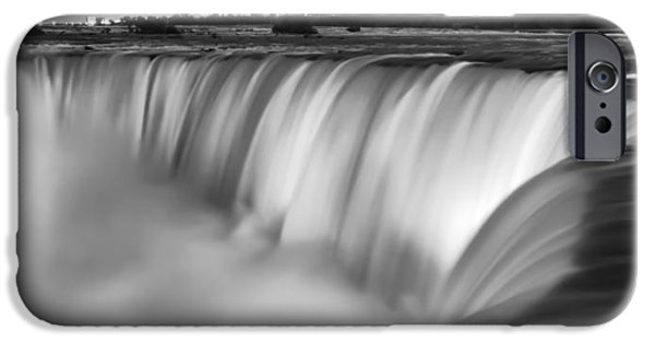 Design iPhone Cases - Niagara Falls at Dusk Black and White iPhone Case by Adam Romanowicz