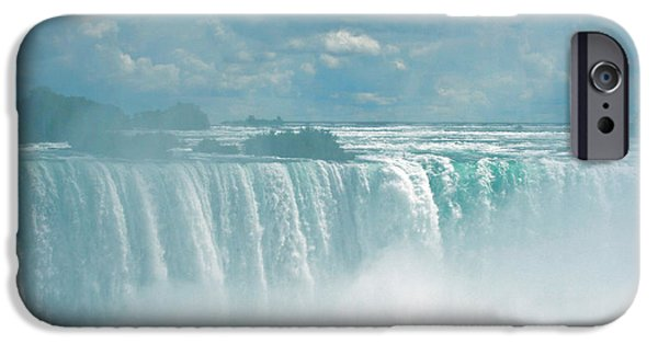 Turbulent Skies iPhone Cases - Niagara Falls In The Blue Mist iPhone Case by Ben and Raisa Gertsberg