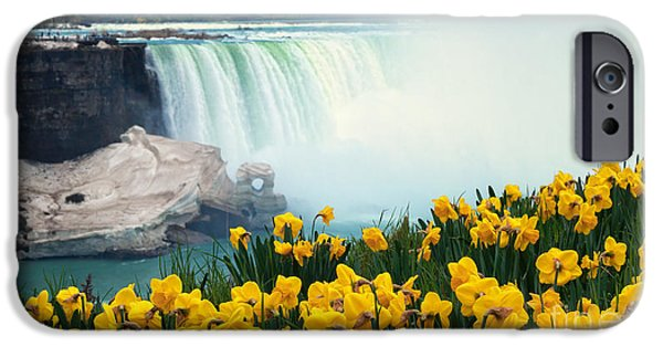 Recently Sold -  - Floral Photographs iPhone Cases - Niagara Falls Spring Flowers and Melting Ice iPhone Case by Charline Xia