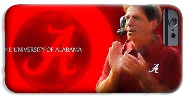 University Of Alabama iPhone Cases - Nick Saban Alabama Crimson Tide iPhone Case by Dan Sproul
