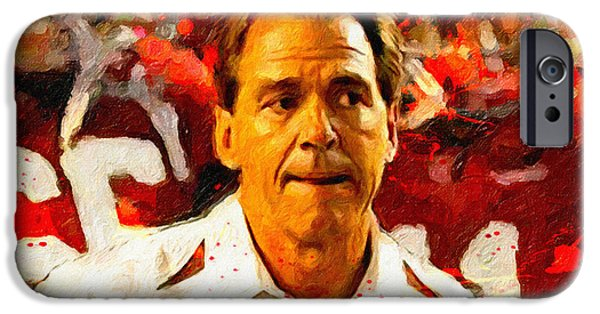 Bear Bryant iPhone Cases - Nick Saban Roll Tide Two iPhone Case by John Farr