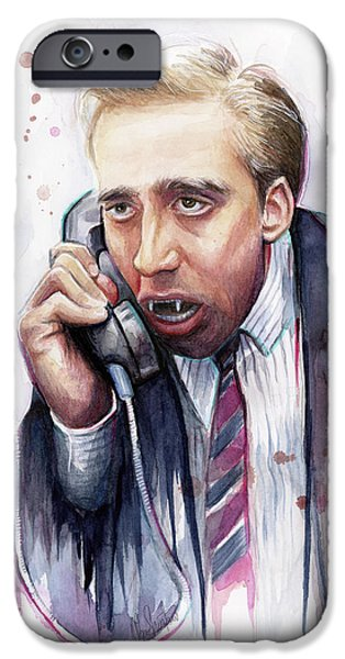 Olechka iPhone Cases - Nicolas Cage A Vampires Kiss Watercolor Art iPhone Case by Olga Shvartsur