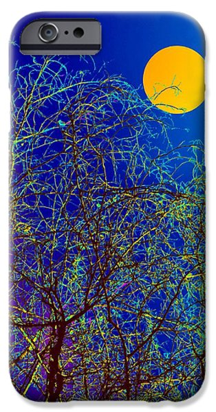Nature Abstracts iPhone Cases - Night Abstract of nature iPhone Case by Bliss Of Art