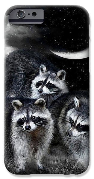Raccoon iPhone Cases - Night Bandits iPhone Case by Carol Cavalaris