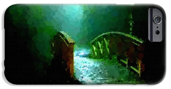 Abstract Digital Pastels iPhone Cases - Night Bridge H a iPhone Case by Gert J Rheeders
