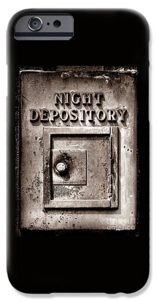 Finance iPhone Cases - Night Depository iPhone Case by Olivier Le Queinec