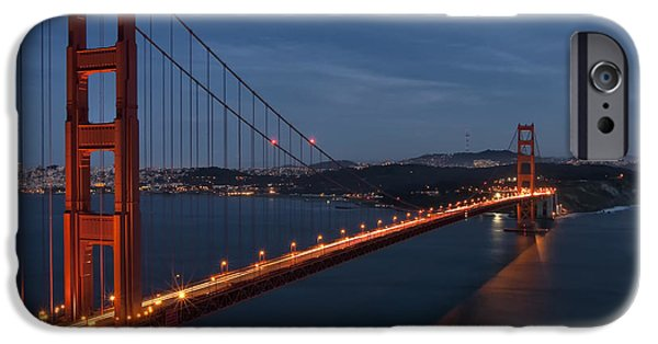 Bay Bridge iPhone Cases - Night Lights of the Golden Gate iPhone Case by Raul Lopez