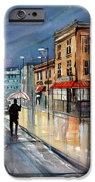 Umbrella iPhone Cases - Night Lights iPhone Case by Ryan Radke