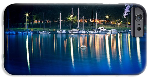 Business Photographs iPhone Cases - Night Marina iPhone Case by Gert Lavsen