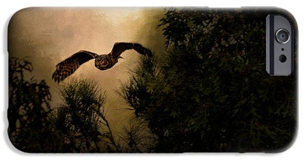 Flight iPhone Cases - Night of the Owl 1 iPhone Case by Jai Johnson