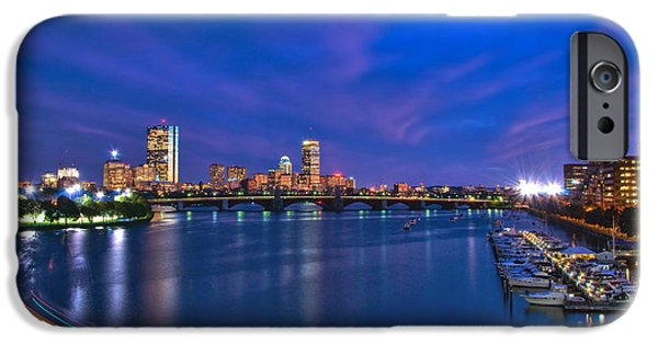Boston Nightscape iPhone Cases - Night on the Charles 2 iPhone Case by Joann Vitali