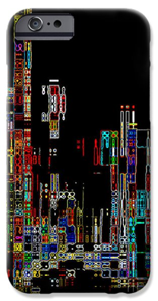 Abstract Digital Photographs iPhone Cases - Night on the Town - Digital Art iPhone Case by Carol Groenen