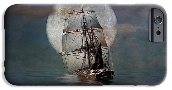 Pirate Ships iPhone Cases - Night Passage iPhone Case by Stephen Warren