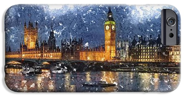 Tree Art Print iPhone Cases - Night Scene London iPhone Case by Don Kuing