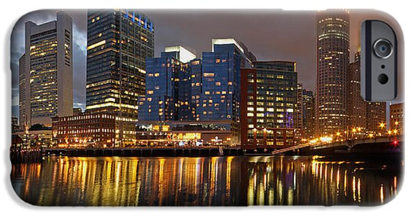 City. Boston iPhone Cases - Night Show iPhone Case by Juergen Roth