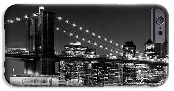 Ground iPhone Cases - Night Skyline MANHATTAN Brooklyn Bridge bw iPhone Case by Melanie Viola