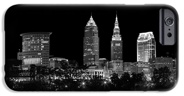 Buildings iPhone Cases - Night Time in Cleveland Ohio iPhone Case by Dale Kincaid