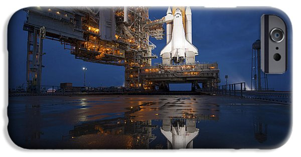 Atlantis iPhone Cases - Night View Of Space Shuttle Atlantis iPhone Case by Stocktrek Images