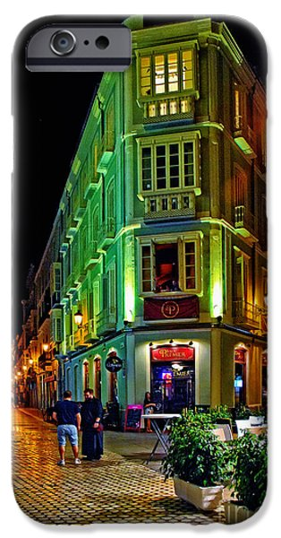 Night Lamp iPhone Cases - Night Walk - Malaga Spain iPhone Case by Mary Machare