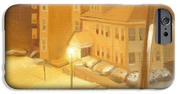 Boston Ma iPhone Cases - Nighttime Blizzard in Boston, MA iPhone Case by Michael William