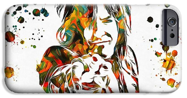 Bassist iPhone Cases - Nikki Sixx Paint Splatter iPhone Case by Dan Sproul